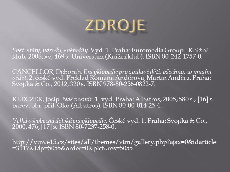 Svět: státy, národy, světadíly. Vyd. 1. Praha: Euromedia Group - Knižní klub, 2006, xv, 469 s.