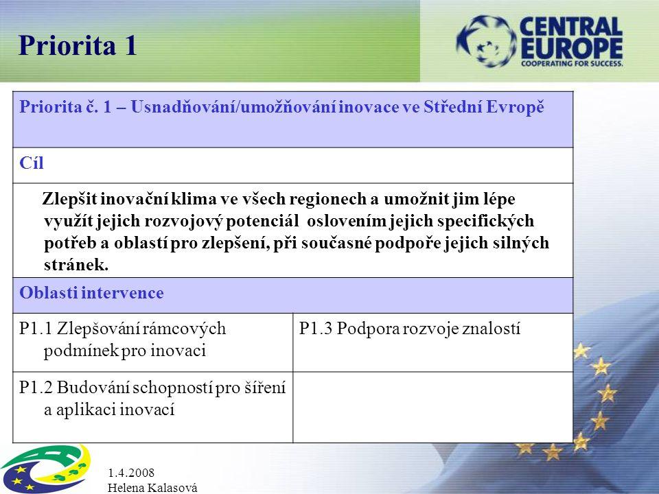 1.4.2008 Helena Kalasová Priorita 1 Priorita č.