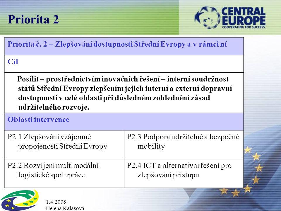 1.4.2008 Helena Kalasová Priorita 2 Priorita č.