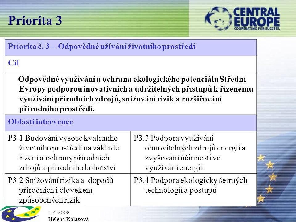1.4.2008 Helena Kalasová Priorita 3 Priorita č.