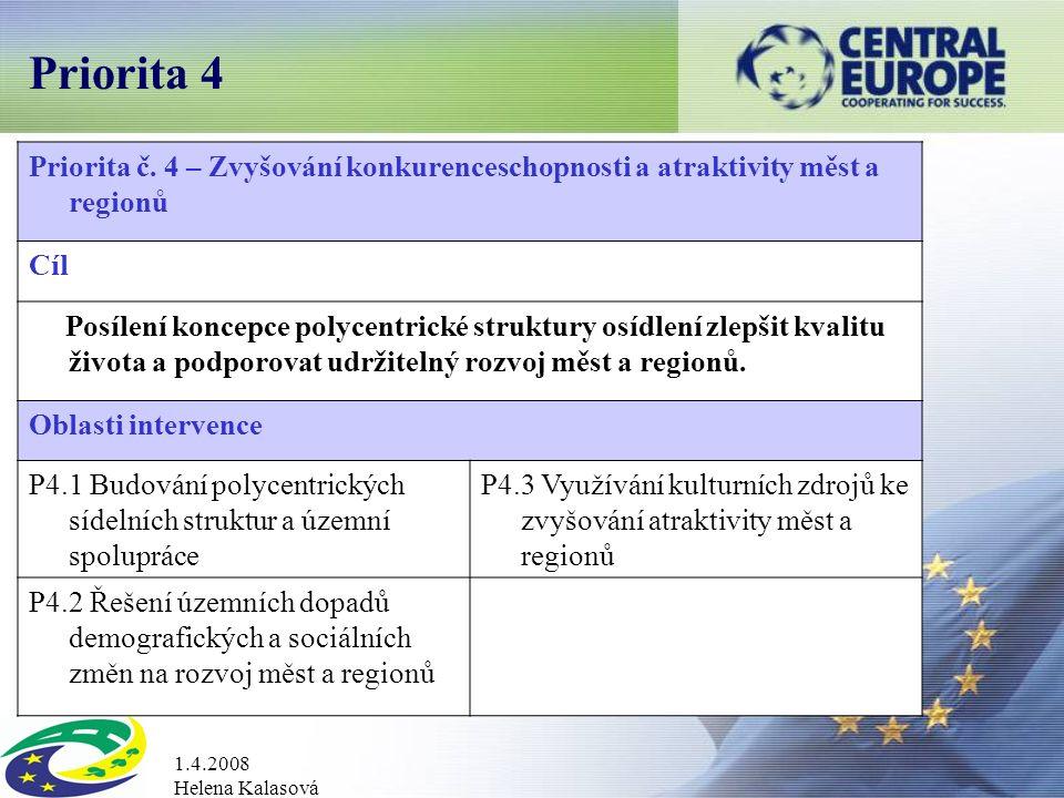 1.4.2008 Helena Kalasová Priorita 4 Priorita č.