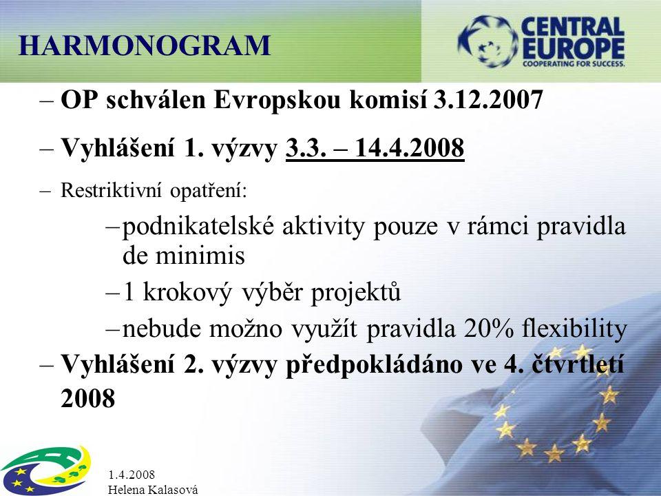 1.4.2008 Helena Kalasová HARMONOGRAM –OP schválen Evropskou komisí 3.12.2007 –Vyhlášení 1.