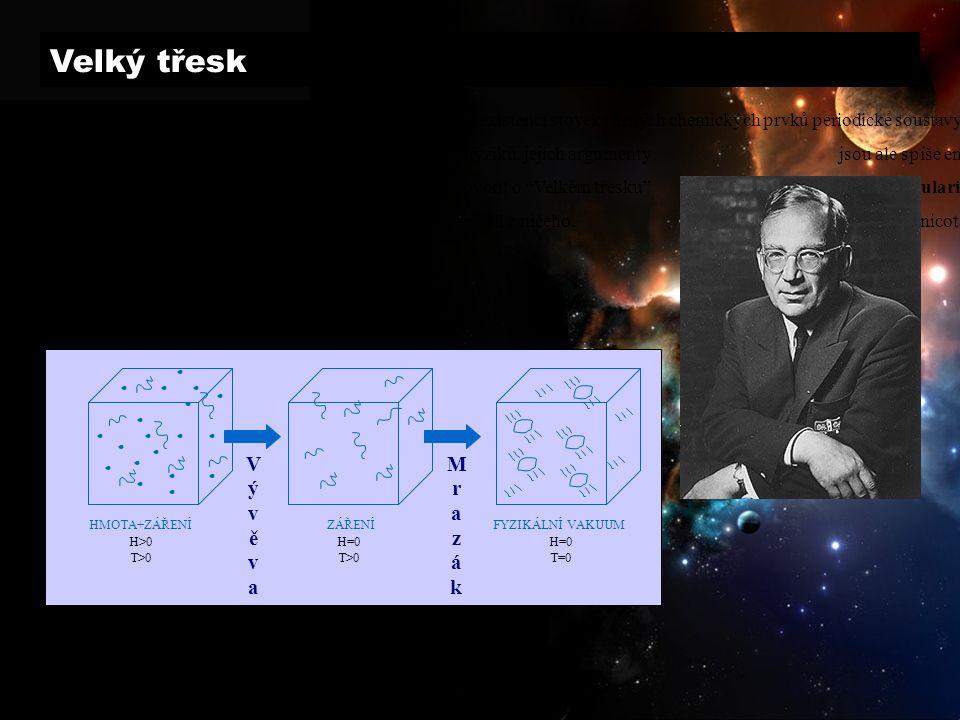Velký třesk George Gamow: V roce 1948 se pokoušel vysvětlit existenci stovek různých chemických prvků periodické soustavy, které nejsou vůbec samozřejmostí (ke slučování atomových jader je potřeba relativně velké množství energie).