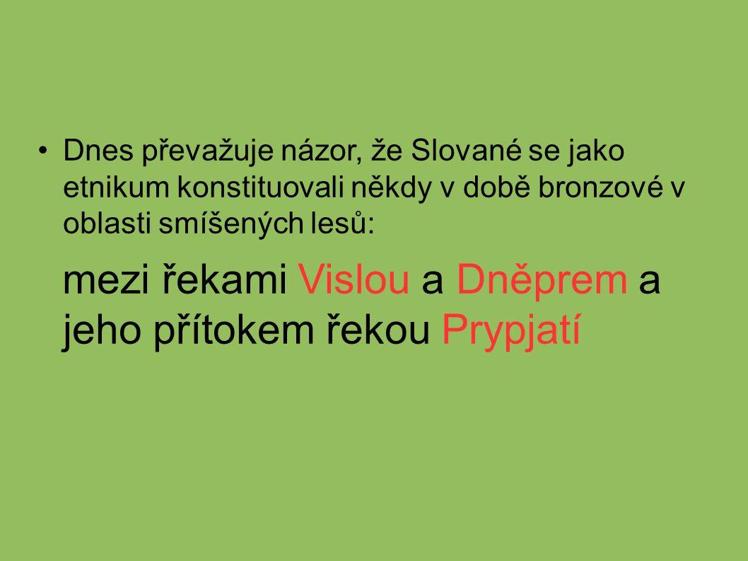 Dnes převažuje názor, že Slované se jako etnikum konstituovali někdy v době bronzové v oblasti smíšených lesů: mezi řekami Vislou a Dněprem a jeho přítokem řekou Prypjatí