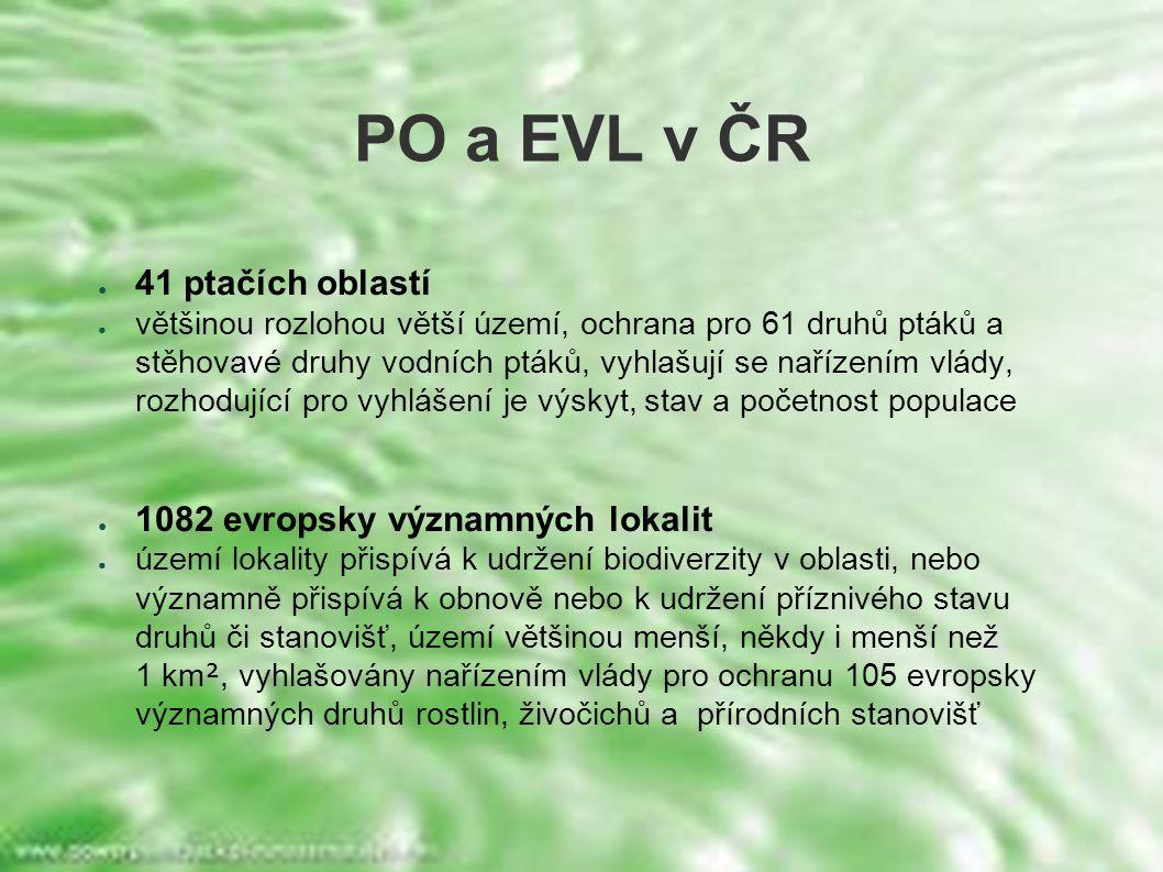 PO a EVL v ČR ● 41 ptačích oblastí ● většinou rozlohou větší území, ochrana pro 61 druhů ptáků a stěhovavé druhy vodních ptáků, vyhlašují se nařízením