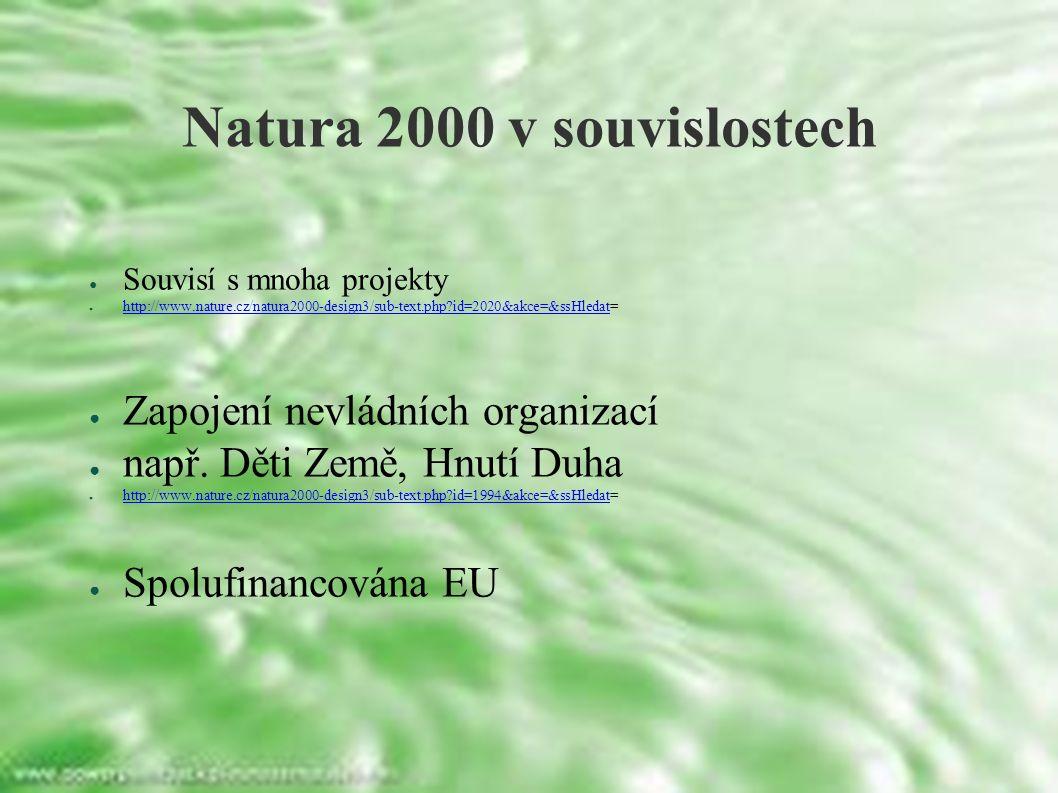 Natura 2000 v souvislostech ● Souvisí s mnoha projekty ● http://www.nature.cz/natura2000-design3/sub-text.php id=2020&akce=&ssHledat= http://www.nature.cz/natura2000-design3/sub-text.php id=2020&akce=&ssHledat ● Zapojení nevládních organizací ● např.
