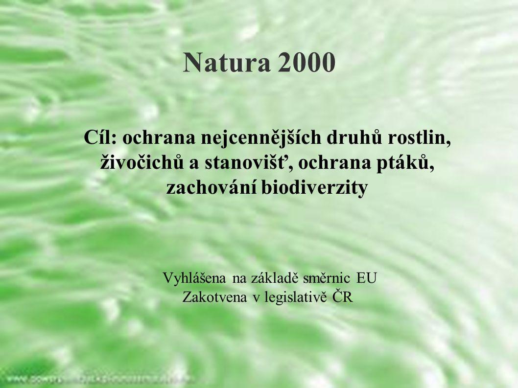 Cíl: ochrana nejcennějších druhů rostlin, živočichů a stanovišť, ochrana ptáků, zachování biodiverzity Vyhlášena na základě směrnic EU Zakotvena v legislativě ČR Natura 2000
