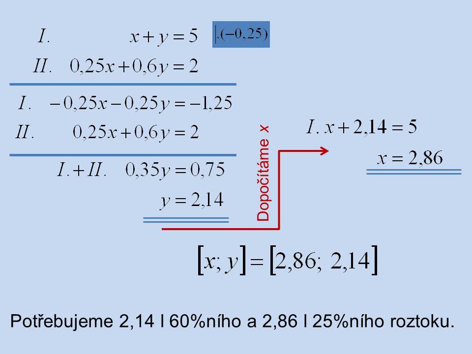 Dopočítáme x Potřebujeme 2,14 l 60%ního a 2,86 l 25%ního roztoku.