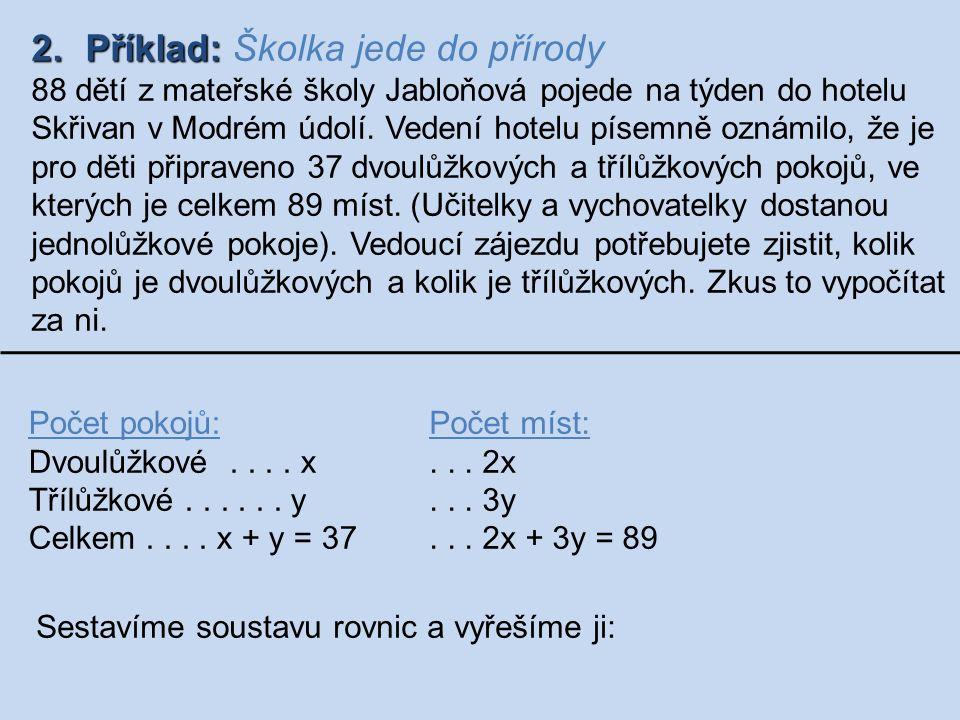 2.Příklad: 2.Příklad: Školka jede do přírody 88 dětí z mateřské školy Jabloňová pojede na týden do hotelu Skřivan v Modrém údolí. Vedení hotelu písemn