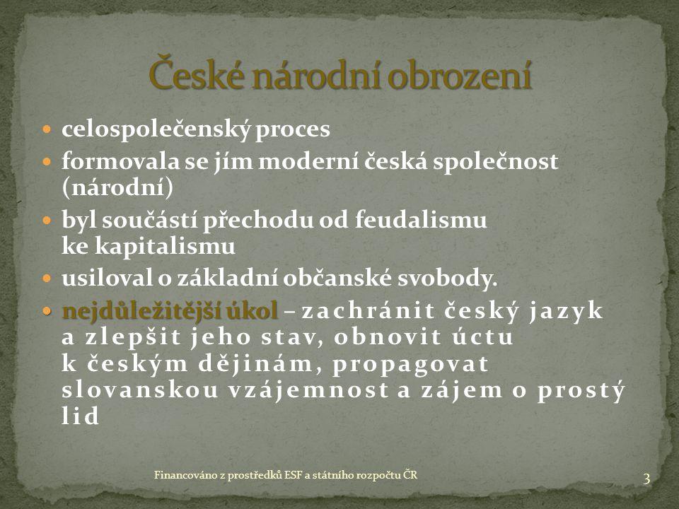 celospolečenský proces formovala se jím moderní česká společnost (národní) byl součástí přechodu od feudalismu ke kapitalismu usiloval o základní občanské svobody.