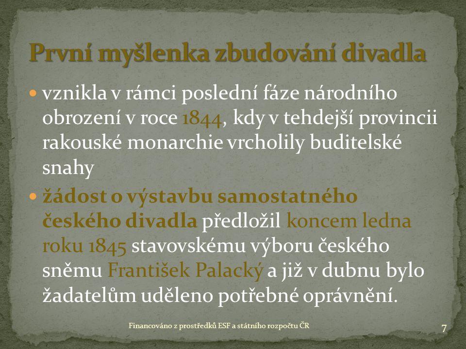 vznikla v rámci poslední fáze národního obrození v roce 1844, kdy v tehdejší provincii rakouské monarchie vrcholily buditelské snahy žádost o výstavbu samostatného českého divadla předložil koncem ledna roku 1845 stavovskému výboru českého sněmu František Palacký a již v dubnu bylo žadatelům uděleno potřebné oprávnění.