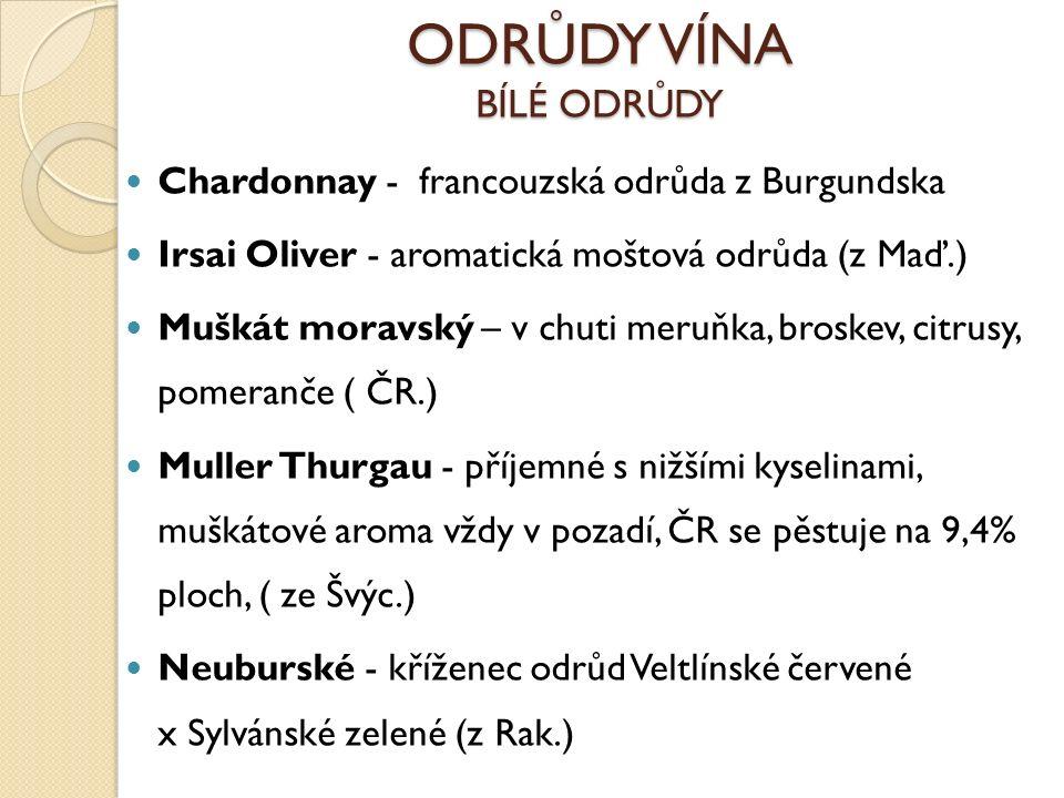 ODRŮDY VÍNA BÍLÉ ODRŮDY Chardonnay - francouzská odrůda z Burgundska Irsai Oliver - aromatická moštová odrůda (z Maď.) Muškát moravský – v chuti meruňka, broskev, citrusy, pomeranče ( ČR.) Muller Thurgau - příjemné s nižšími kyselinami, muškátové aroma vždy v pozadí, ČR se pěstuje na 9,4% ploch, ( ze Švýc.) Neuburské - kříženec odrůd Veltlínské červené x Sylvánské zelené (z Rak.)