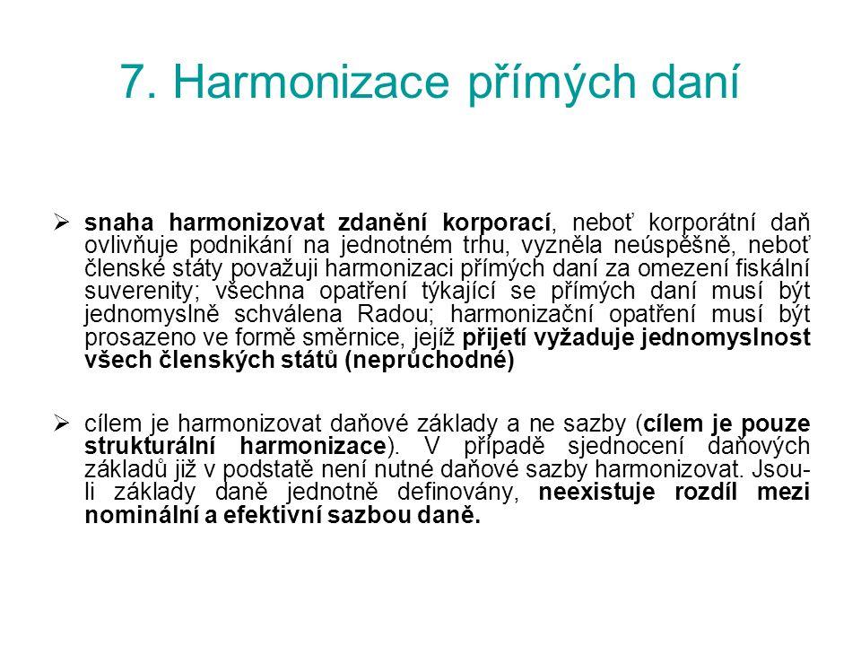 7. Harmonizace přímých daní  snaha harmonizovat zdanění korporací, neboť korporátní daň ovlivňuje podnikání na jednotném trhu, vyzněla neúspěšně, neb