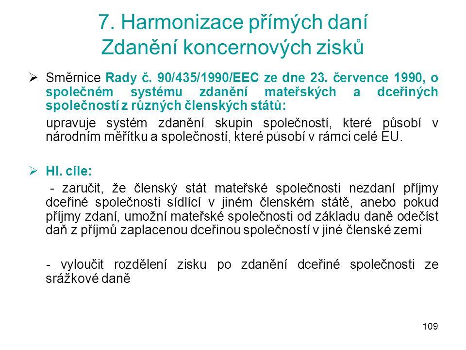 109 7. Harmonizace přímých daní Zdanění koncernových zisků  Směrnice Rady č.