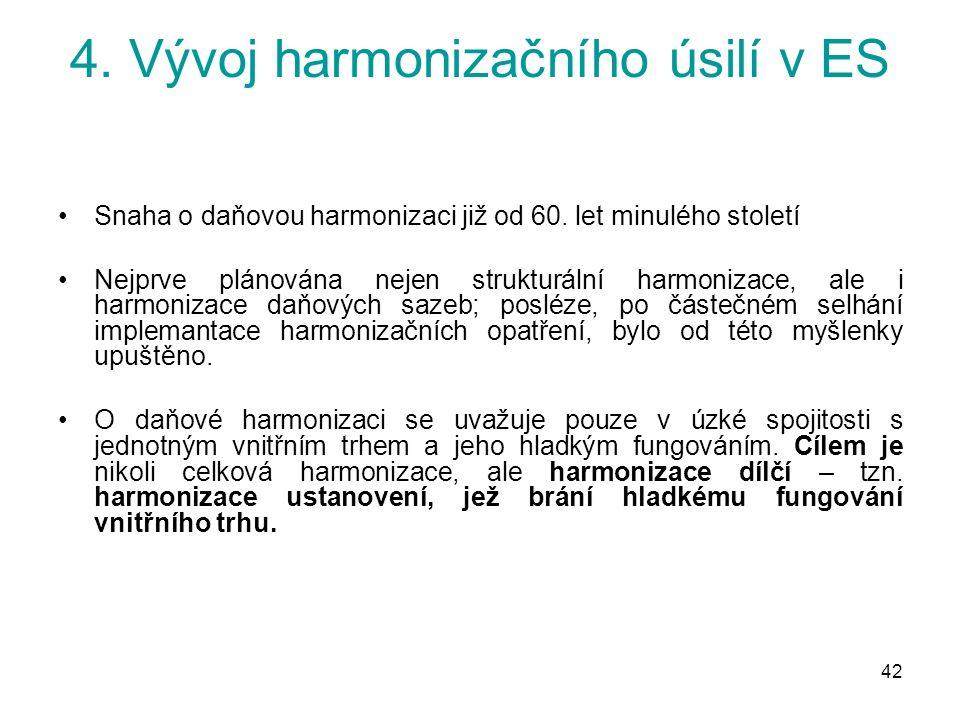 42 4. Vývoj harmonizačního úsilí v ES Snaha o daňovou harmonizaci již od 60.