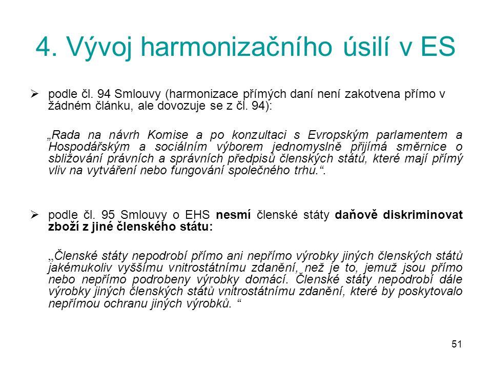 51 4. Vývoj harmonizačního úsilí v ES  podle čl.