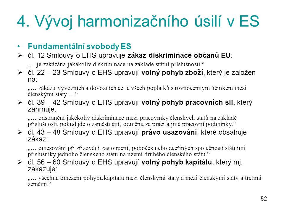 52 4. Vývoj harmonizačního úsilí v ES Fundamentální svobody ES  čl.