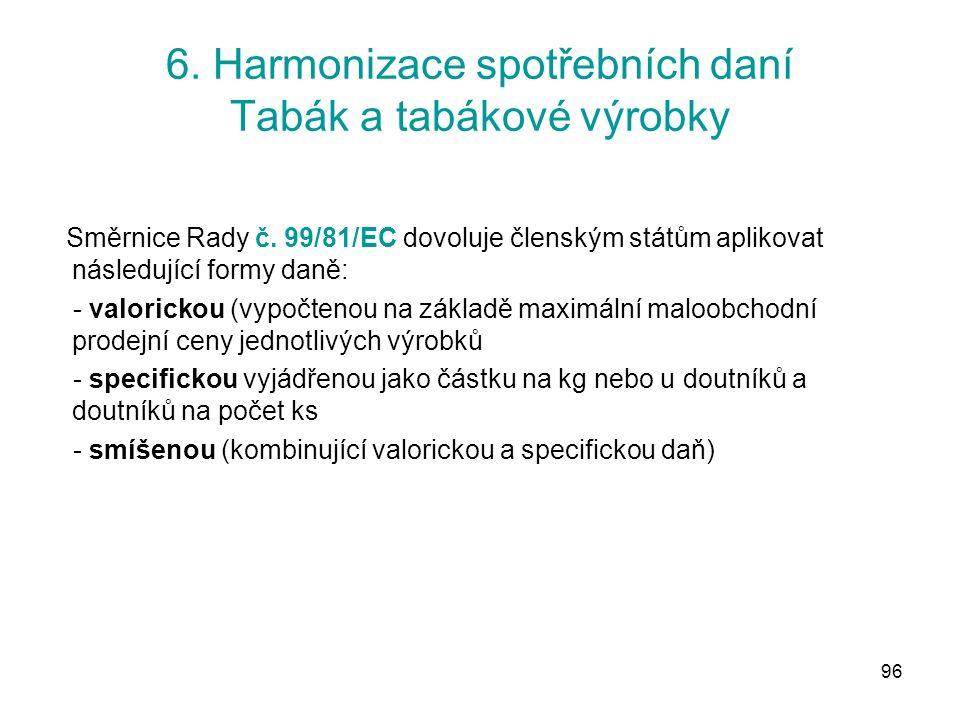 96 6. Harmonizace spotřebních daní Tabák a tabákové výrobky Směrnice Rady č.
