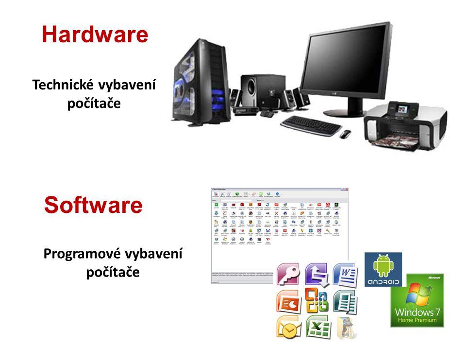 Software Programové vybavení počítače Hardware Technické vybavení počítače