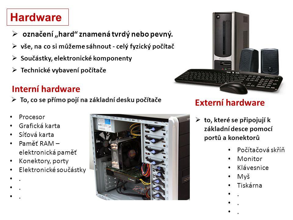 Hardware  Technické vybavení počítače  Součástky, elektronické komponenty Počítačová skříň Monitor Klávesnice Myš Tiskárna.