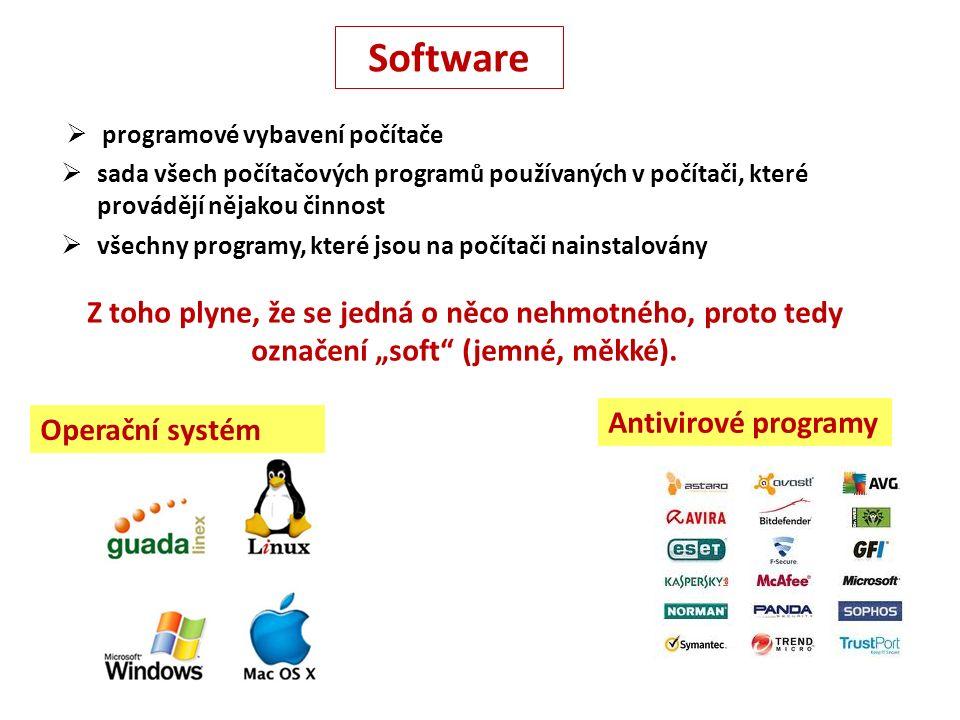 """Antivirové programy Operační systém Software  sada všech počítačových programů používaných v počítači, které provádějí nějakou činnost  všechny programy, které jsou na počítači nainstalovány  programové vybavení počítače Z toho plyne, že se jedná o něco nehmotného, proto tedy označení """"soft (jemné, měkké)."""