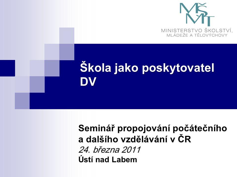 Škola jako poskytovatel DV Seminář propojování počátečního a dalšího vzdělávání v ČR 24.