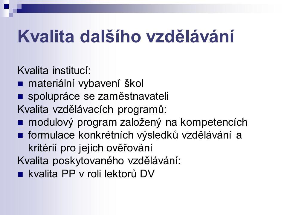Kvalita dalšího vzdělávání Kvalita institucí: materiální vybavení škol spolupráce se zaměstnavateli Kvalita vzdělávacích programů: modulový program založený na kompetencích formulace konkrétních výsledků vzdělávání a kritérií pro jejich ověřování Kvalita poskytovaného vzdělávání: kvalita PP v roli lektorů DV