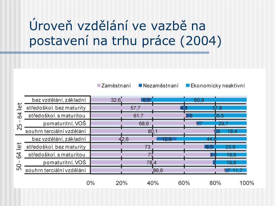 Úroveň vzdělání ve vazbě na postavení na trhu práce (2004)