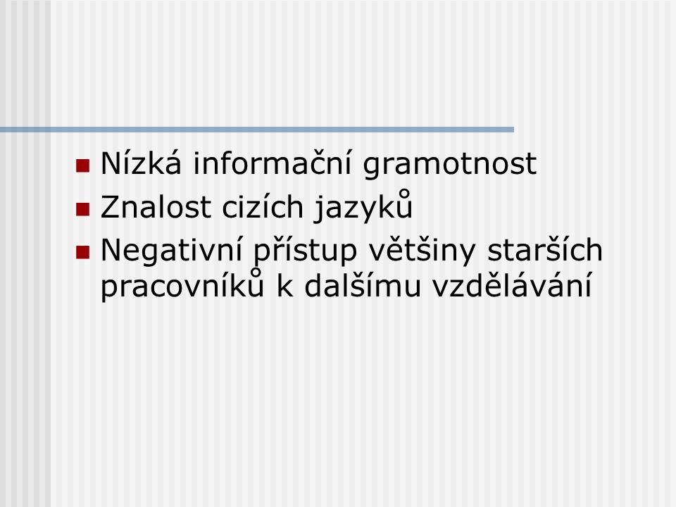 Nízká informační gramotnost Znalost cizích jazyků Negativní přístup většiny starších pracovníků k dalšímu vzdělávání