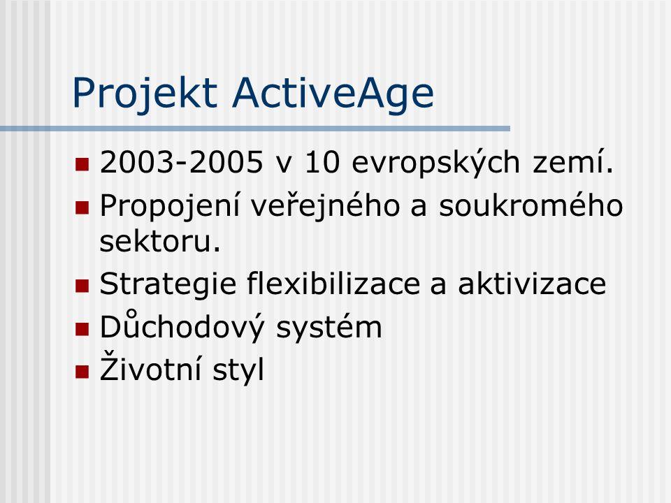 Projekt ActiveAge 2003-2005 v 10 evropských zemí. Propojení veřejného a soukromého sektoru.