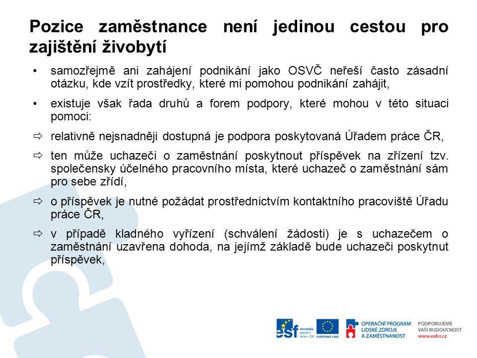 Pozice zaměstnance není jedinou cestou pro zajištění živobytí samozřejmě ani zahájení podnikání jako OSVČ neřeší často zásadní otázku, kde vzít prostředky, které mi pomohou podnikání zahájit, existuje však řada druhů a forem podpory, které mohou v této situaci pomoci:  relativně nejsnadněji dostupná je podpora poskytovaná Úřadem práce ČR,  ten může uchazeči o zaměstnání poskytnout příspěvek na zřízení tzv.