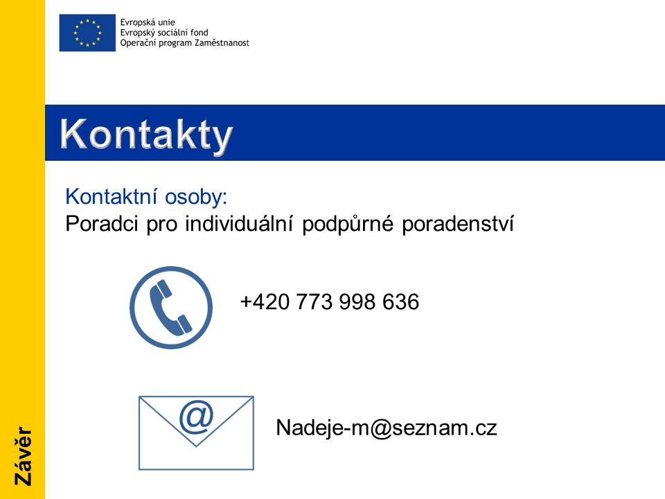 Závěr Kontaktní osoby: Poradci pro individuální podpůrné poradenství Nadeje-m@seznam.cz +420 773 998 636
