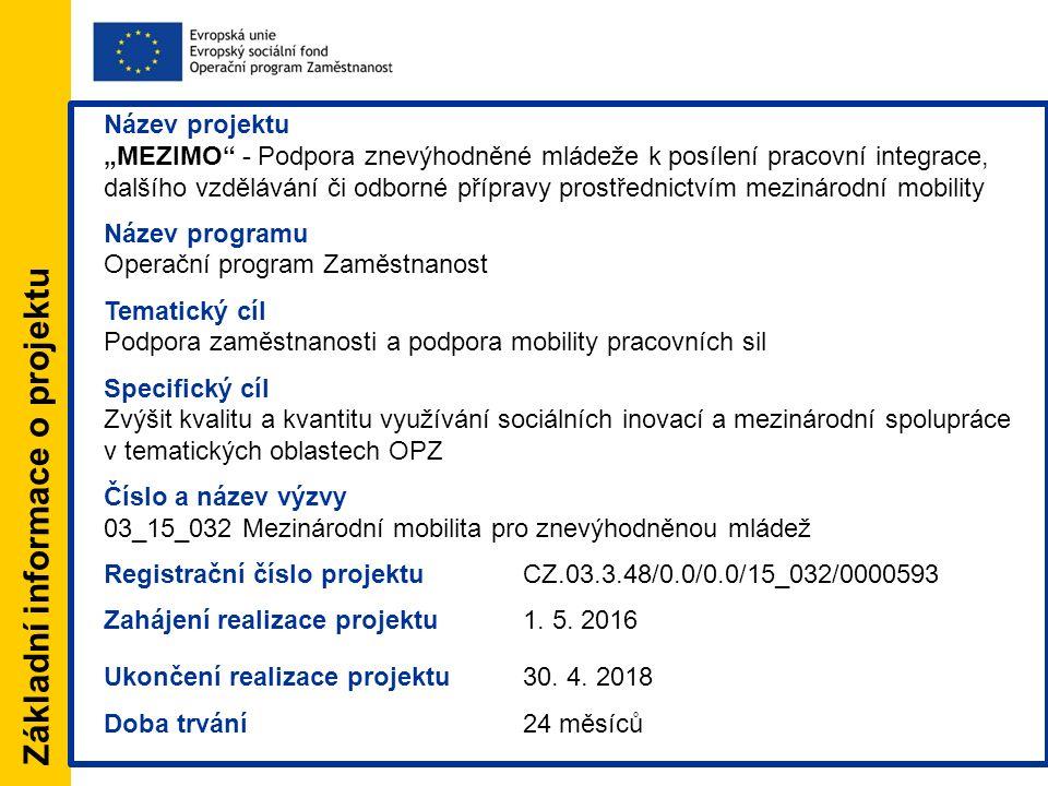 """Základní informace o projektu Název projektu """"MEZIMO - Podpora znevýhodněné mládeže k posílení pracovní integrace, dalšího vzdělávání či odborné přípravy prostřednictvím mezinárodní mobility Název programu Operační program Zaměstnanost Tematický cíl Podpora zaměstnanosti a podpora mobility pracovních sil Specifický cíl Zvýšit kvalitu a kvantitu využívání sociálních inovací a mezinárodní spolupráce v tematických oblastech OPZ Číslo a název výzvy 03_15_032 Mezinárodní mobilita pro znevýhodněnou mládež Registrační číslo projektuCZ.03.3.48/0.0/0.0/15_032/0000593 Zahájení realizace projektu1."""