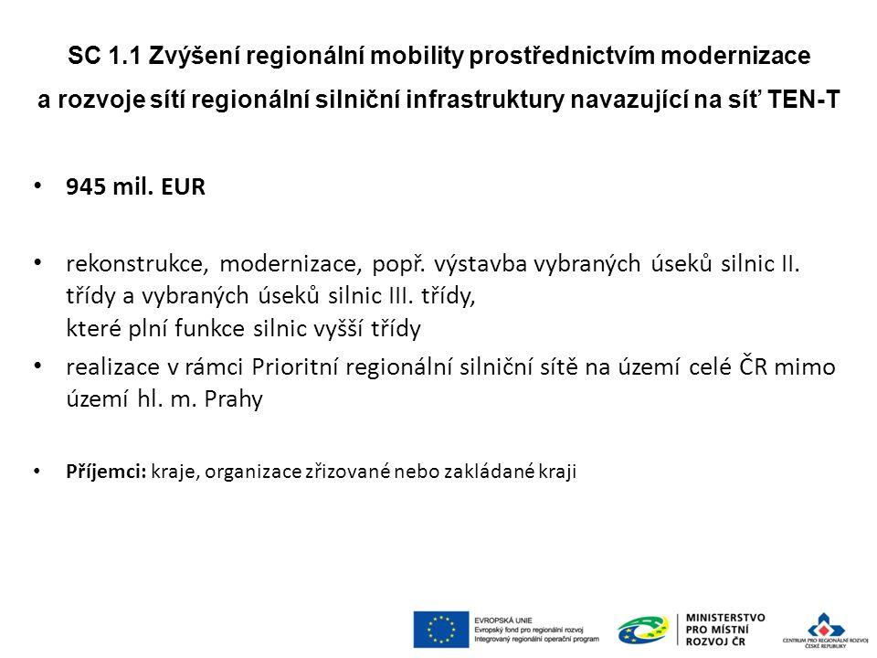 945 mil. EUR rekonstrukce, modernizace, popř. výstavba vybraných úseků silnic II.