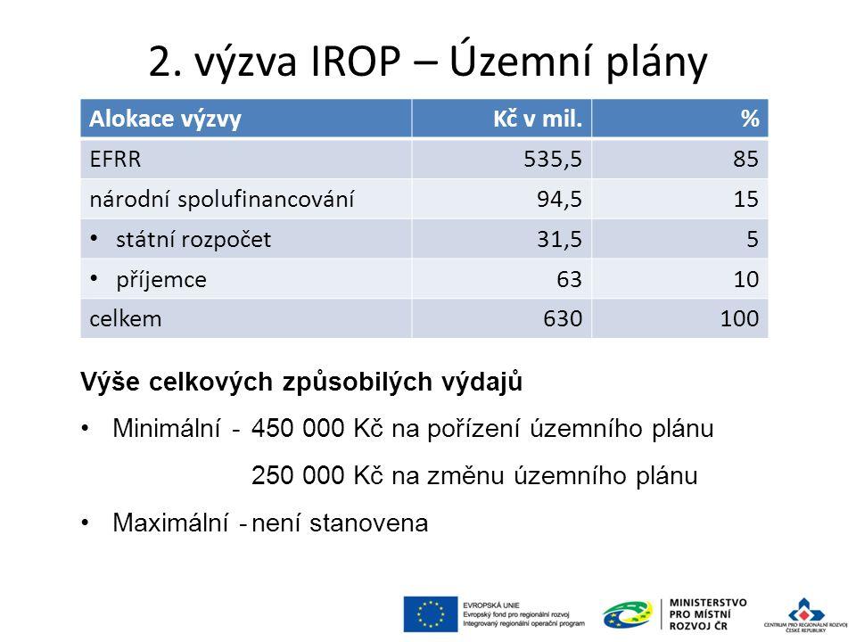 2. výzva IROP – Územní plány 35 Alokace výzvyKč v mil.% EFRR535,585 národní spolufinancování94,515 státní rozpočet31,55 příjemce6310 celkem630100 Výše