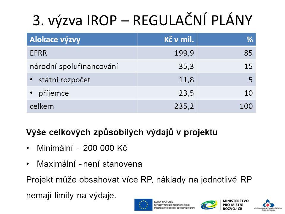3. výzva IROP – REGULAČNÍ PLÁNY 56 Alokace výzvyKč v mil.% EFRR199,985 národní spolufinancování35,315 státní rozpočet11,85 příjemce23,510 celkem235,21