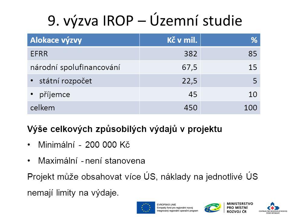 9. výzva IROP – Územní studie 74 Alokace výzvyKč v mil.% EFRR38285 národní spolufinancování67,515 státní rozpočet22,55 příjemce4510 celkem450100 Výše