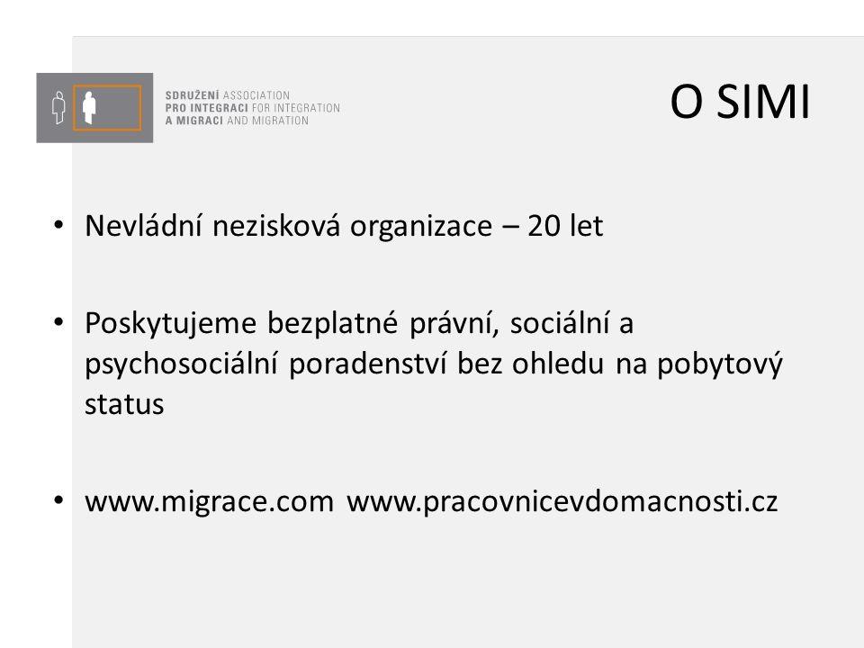 O SIMI Nevládní nezisková organizace – 20 let Poskytujeme bezplatné právní, sociální a psychosociální poradenství bez ohledu na pobytový status www.mi