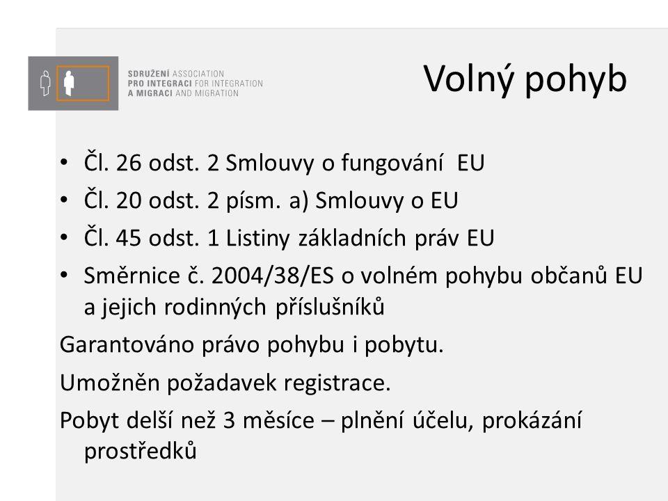 Volný pohyb Čl. 26 odst. 2 Smlouvy o fungování EU Čl. 20 odst. 2 písm. a) Smlouvy o EU Čl. 45 odst. 1 Listiny základních práv EU Směrnice č. 2004/38/E