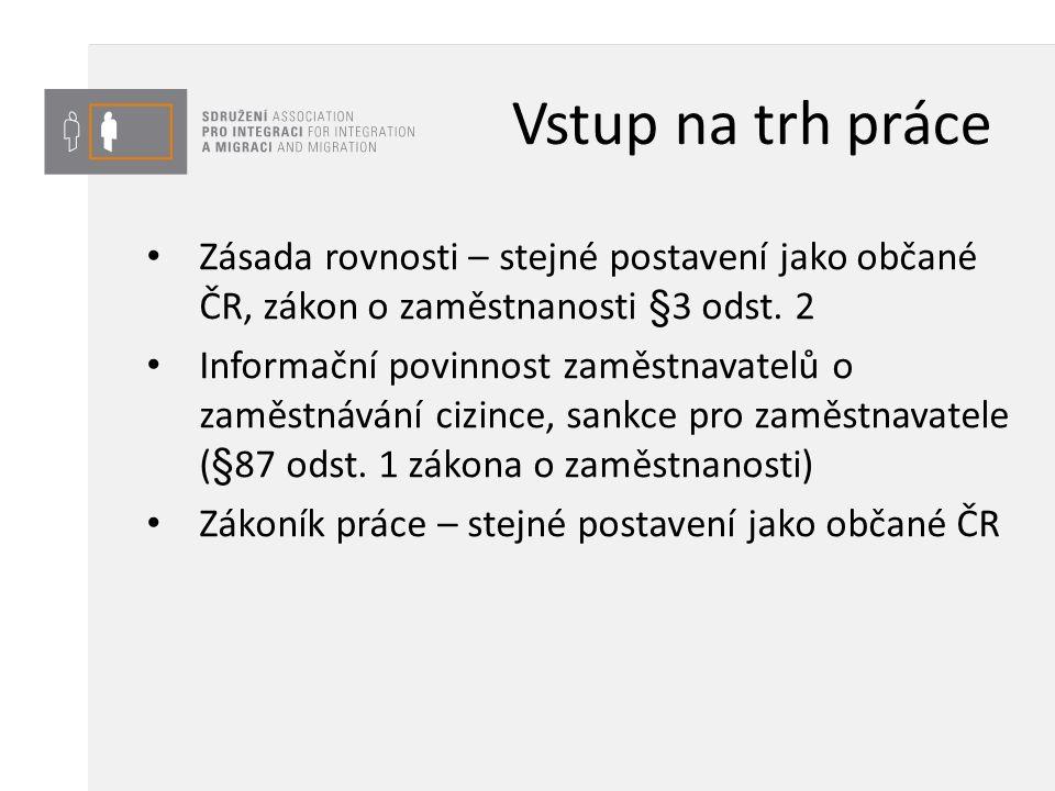 Vstup na trh práce Zásada rovnosti – stejné postavení jako občané ČR, zákon o zaměstnanosti §3 odst. 2 Informační povinnost zaměstnavatelů o zaměstnáv