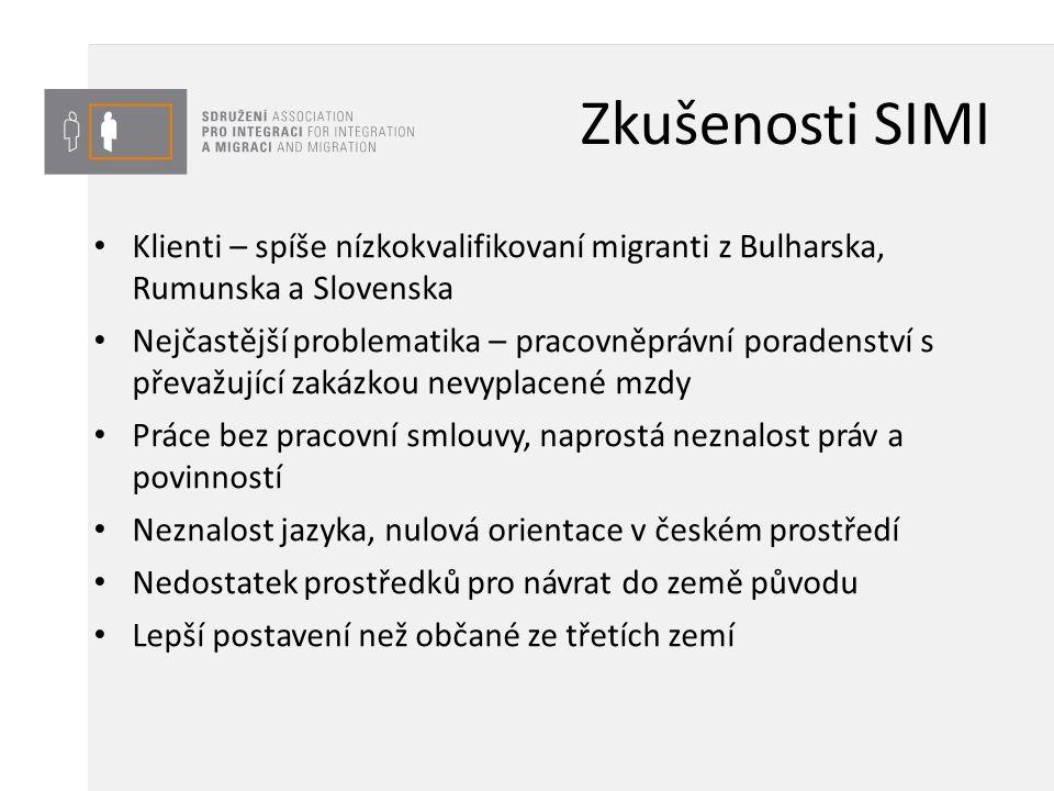 Zkušenosti SIMI Klienti – spíše nízkokvalifikovaní migranti z Bulharska, Rumunska a Slovenska Nejčastější problematika – pracovněprávní poradenství s převažující zakázkou nevyplacené mzdy Práce bez pracovní smlouvy, naprostá neznalost práv a povinností Neznalost jazyka, nulová orientace v českém prostředí Nedostatek prostředků pro návrat do země původu Lepší postavení než občané ze třetích zemí