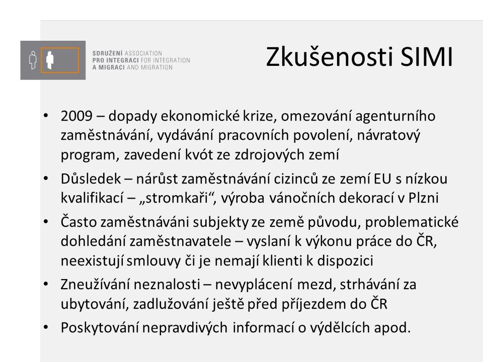 """Zkušenosti SIMI 2009 – dopady ekonomické krize, omezování agenturního zaměstnávání, vydávání pracovních povolení, návratový program, zavedení kvót ze zdrojových zemí Důsledek – nárůst zaměstnávání cizinců ze zemí EU s nízkou kvalifikací – """"stromkaři , výroba vánočních dekorací v Plzni Často zaměstnáváni subjekty ze země původu, problematické dohledání zaměstnavatele – vyslaní k výkonu práce do ČR, neexistují smlouvy či je nemají klienti k dispozici Zneužívání neznalosti – nevyplácení mezd, strhávání za ubytování, zadlužování ještě před příjezdem do ČR Poskytování nepravdivých informací o výdělcích apod."""