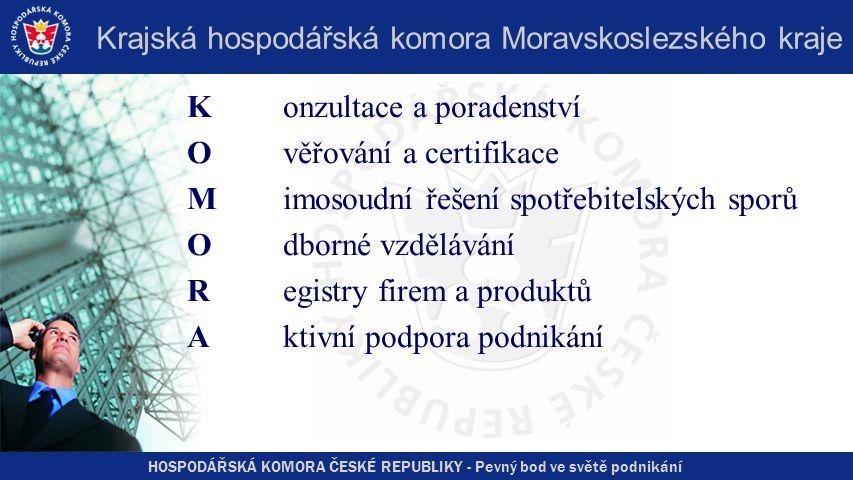 HOSPODÁŘSKÁ KOMORA ČESKÉ REPUBLIKY - Pevný bod ve světě podnikání Krajská hospodářská komora Moravskoslezského kraje Konzultace a poradenství Ověřování a certifikace Mimosoudní řešení spotřebitelských sporů Odborné vzdělávání Registry firem a produktů Aktivní podpora podnikání