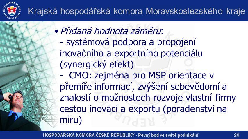 HOSPODÁŘSKÁ KOMORA ČESKÉ REPUBLIKY - Pevný bod ve světě podnikání Krajská hospodářská komora Moravskoslezského kraje Přidaná hodnota záměru: - systémová podpora a propojení inovačního a exportního potenciálu (synergický efekt) - CMO: zejména pro MSP orientace v přemíře informací, zvýšení sebevědomí a znalostí o možnostech rozvoje vlastní firmy cestou inovací a exportu (poradenství na míru) 20
