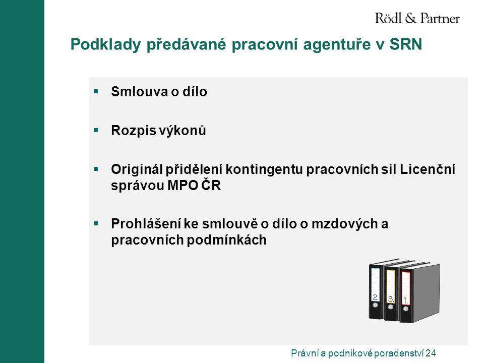 Právní a podnikové poradenství 24 Podklady předávané pracovní agentuře v SRN  Smlouva o dílo  Rozpis výkonů  Originál přidělení kontingentu pracovn