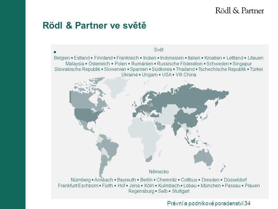 Právní a podnikové poradenství 34 Rödl & Partner ve světě  Svět Belgien  Estland  Finnland  Frankreich  Indien  Indonesien  Italien  Kroatien