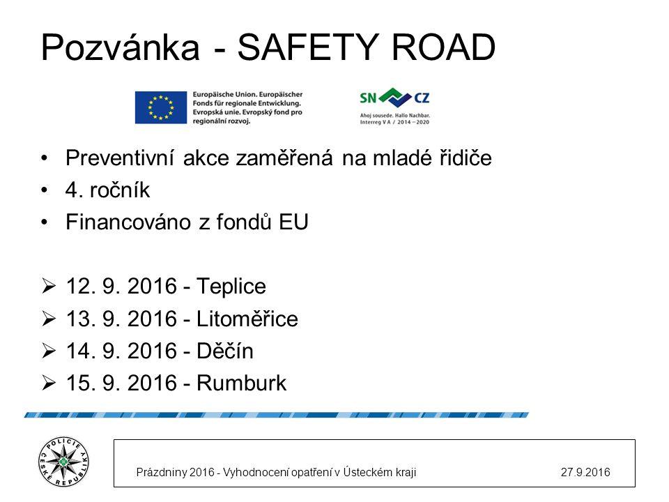Pozvánka - SAFETY ROAD Preventivní akce zaměřená na mladé řidiče 4.