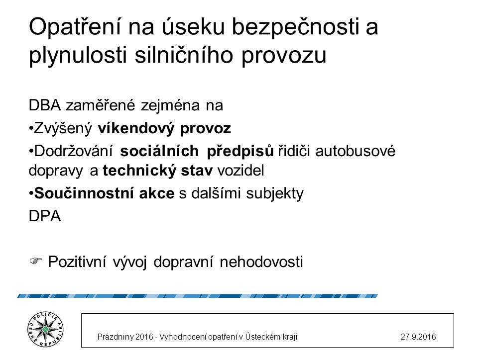 Opatření na úseku bezpečnosti a plynulosti silničního provozu DBA zaměřené zejména na Zvýšený víkendový provoz Dodržování sociálních předpisů řidiči autobusové dopravy a technický stav vozidel Součinnostní akce s dalšími subjekty DPA  Pozitivní vývoj dopravní nehodovosti 27.9.2016Prázdniny 2016 - Vyhodnocení opatření v Ústeckém kraji