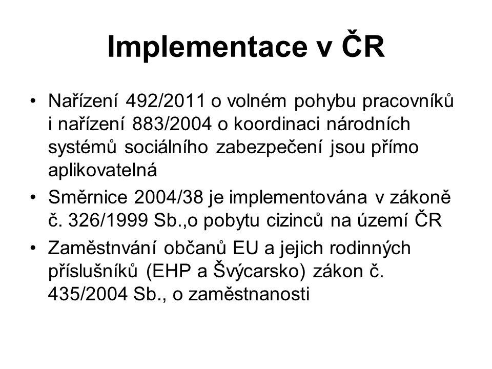 Implementace v ČR Nařízení 492/2011 o volném pohybu pracovníků i nařízení 883/2004 o koordinaci národních systémů sociálního zabezpečení jsou přímo aplikovatelná Směrnice 2004/38 je implementována v zákoně č.