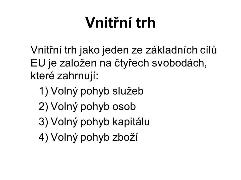 Vnitřní trh Vnitřní trh jako jeden ze základních cílů EU je založen na čtyřech svobodách, které zahrnují: 1)Volný pohyb služeb 2)Volný pohyb osob 3)Volný pohyb kapitálu 4)Volný pohyb zboží